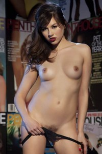 Model Shyla Jennings in Magazine Wall